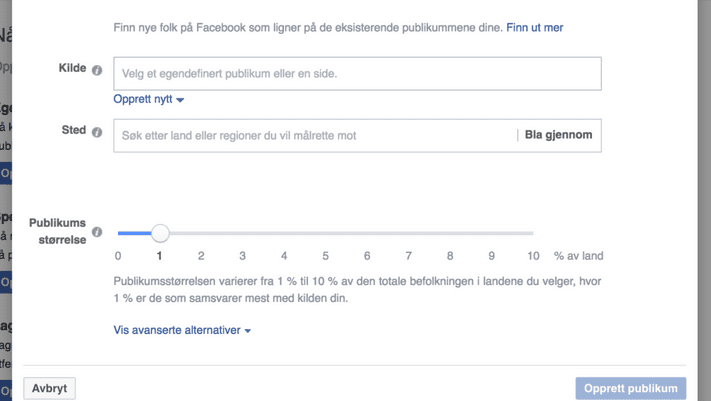 Screenshot fra Facebooks audience manager